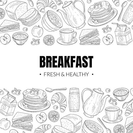 Fresh and Healthy Breakfast and Brunches Top View Vector Card Design 版權商用圖片 - 134690853