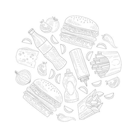 Hand Drawn Fast Food Items and Ingredients Vector Circle Composition Illustration