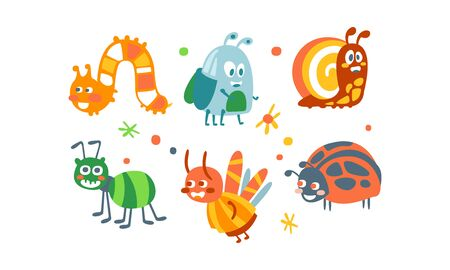 Bugs Vector Set. Funny Cartoon Insects Collection