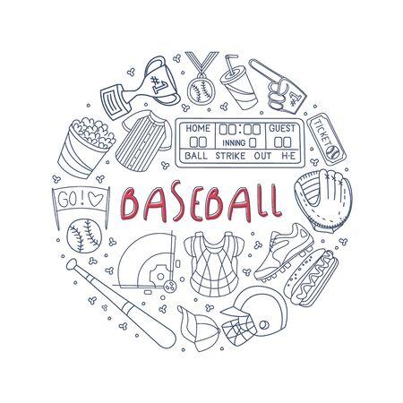 Hand Drawn Baseball Symbols Framed Vector Template. Doing Sport Conceptual Theme  イラスト・ベクター素材