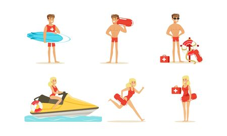 Beach-rescue People Characters Performing Their Duties. Lifeguard Occupation Concept.