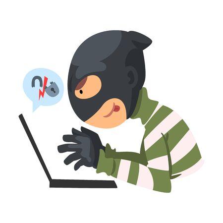 Data Theft. Hacker Wearing Mask Breaking into Laptop Vector Illustration