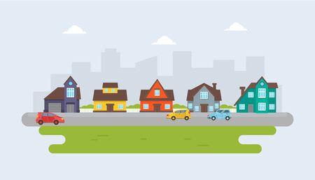 Cottages gris, rouges, bleus et jaunes sur fond de ville. Illustration vectorielle.
