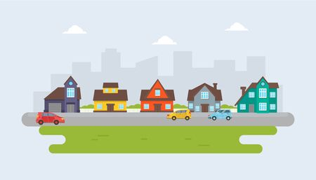 Gray, red, blue and yellow cottages against the backdrop of the city. Vector illustration.