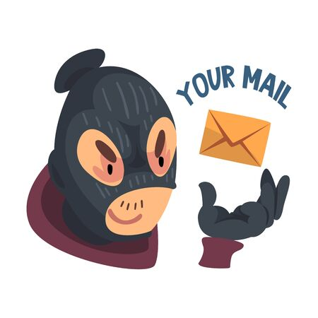 Man Hacker Wearing Mask and Gloves Trying to Hack Mail Vector Illustration. Safety of Personal Information
