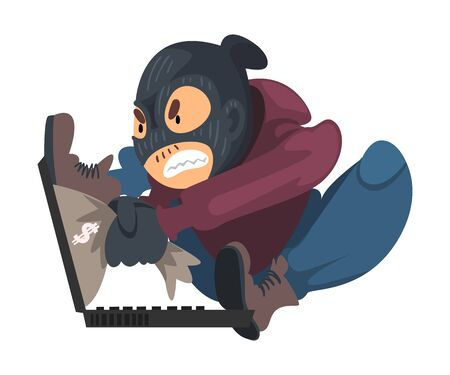 Hacker Wearing Gloves and Mask Breaking into Laptop Vector Illustration