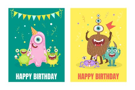Green and yellow cards with cute monsters and wish a happy birthday. Vector illustration.