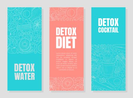 Blue and pink layouts for detox flyers with contours of fruits and drink cans. Vector illustration.