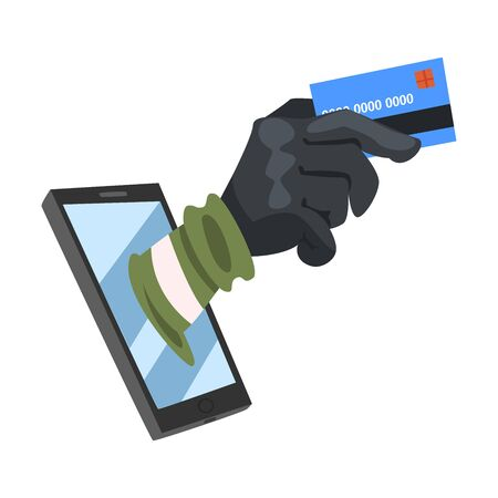 Data Theft. Hacker Wearing Gloves Breaking into Smartphone Vector Illustration. Cyber Attacker Trying to Steal Money from Credit Card