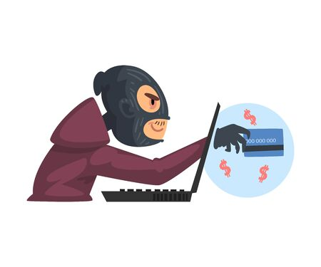Hacker Man Wearing Gloves and Mask Breaking into Laptop Vector Illustration