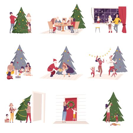 Happy People Preparing and Celebrating Winter Holidays, Men, Women and Kids Decorating Christmas Tree, Giving Gifts, Sitting at Festive Table Vector Illustration Archivio Fotografico - 134628636