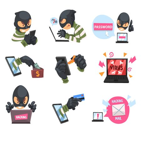 Cartoon hackers at work. Set of vector illustrations. Stock Illustratie