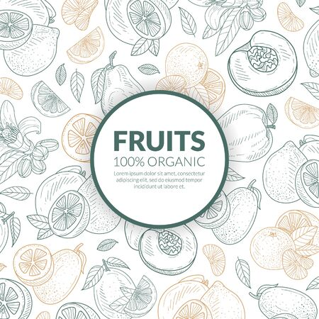Circle with the inscription Fruit in the center of the pattern. Vector illustration. Standard-Bild - 134628649