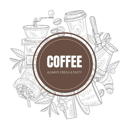 Fresh and Tasty Coffee Shop Symbols Arranged Behind the Graphic Circle. Vector Template for Packaging or Coffee House Design