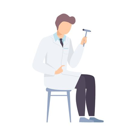 Male Neurologist Character with Hammer for Diagnostic Reflex Vector illustration
