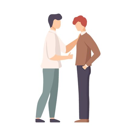 Father Standing with His Son Giving Him Word Support Vector Illustration