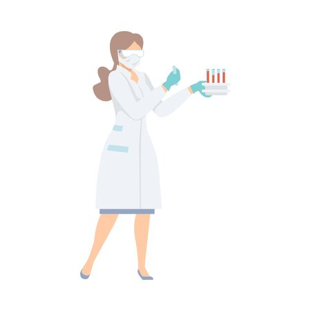 Female Laboratory Assistant Holding Test Tubes with Blood in her Hands, Doctor Doing Medical Tests Vector illustration in Flat Style. Vektorové ilustrace