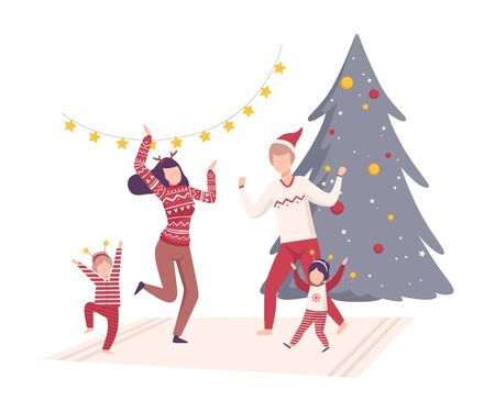 Family Wearing Holiday Attributes Dancing Near the Christmas Tree Vector Illustration. People Celebrating New Year and Christmas Holidays Concept