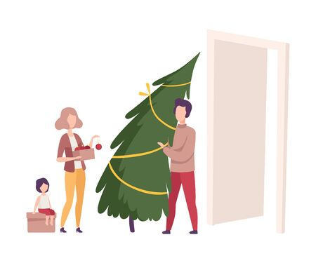 Family Involved in Preparation for the New Year Holidays Vector Illustration. Father Bringing Fir Tree to the House for Decoration Ilustrace