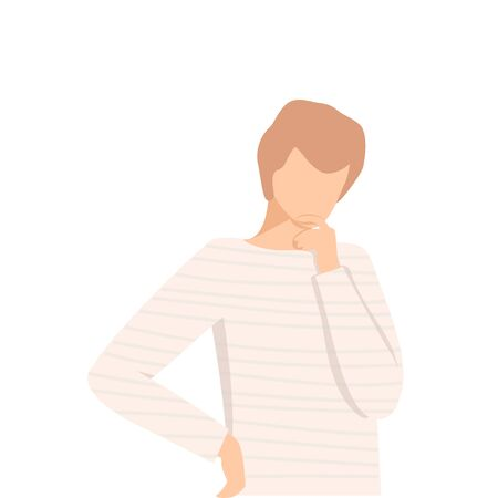 Young Man Standing Deep in His Thoughts Vector Illustration. Emotional Stress and Inner Turmoil Concept 向量圖像