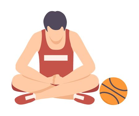 Sad Man Sitting on Floor Needed Support and Encouragement Vector Illustration. Lack of Compassion and Moral Support Concept