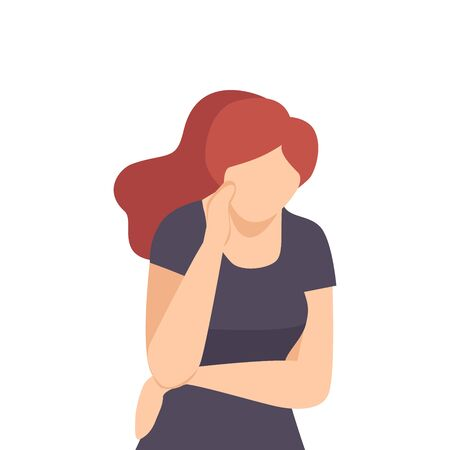 Young Woman Standing Deep in Her Thoughts Vector Illustration. Emotional Stress and Inner Turmoil Concept