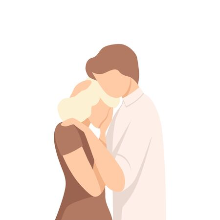 Feceless Man Standing and Embracing Young Crying Woman Stroking Her Hair Vector Illustration. Moral Closeness and Support Concept Illusztráció