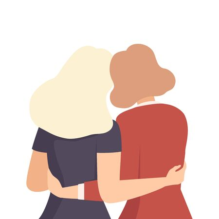 Women Embracing Each Other View From Back Vector Illustration. Sympathy and Concern Concept Иллюстрация