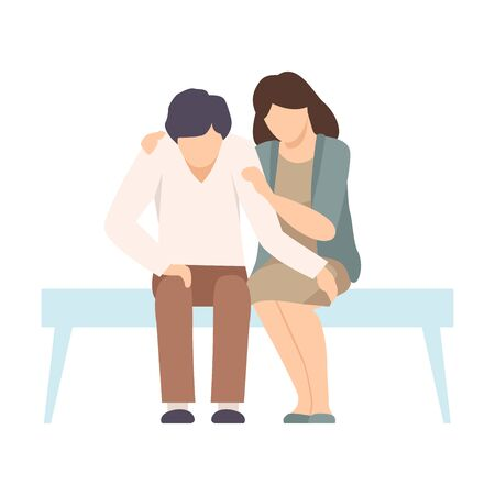 Faceless Woman Sitting on Bench Beside Man and Encouraging Him By Stroking His Arm Vector Illustration. Encouragement Concept Иллюстрация
