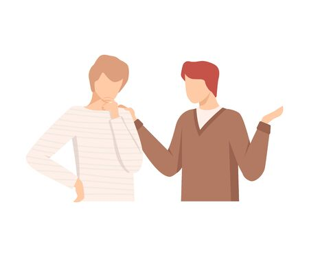 One Man Encouraging Another By Putting Hand on His Shoulder Vector Illustration Illusztráció