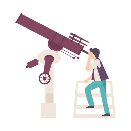 Young Man Looking in Telescope Searching for Constellation Vector Illustration. Planetarium Visit Concept