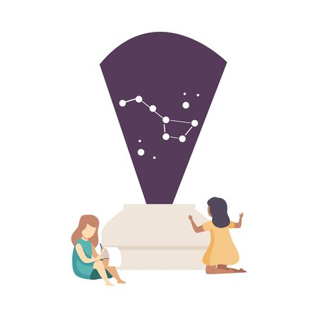 Two Girls Learning Constellation and Putting Down Notes Vector Illustration