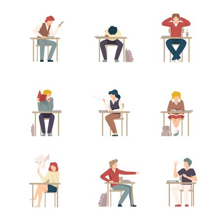 Naughty Pupils Sitting At School Desk Vector Illustration Ilustração
