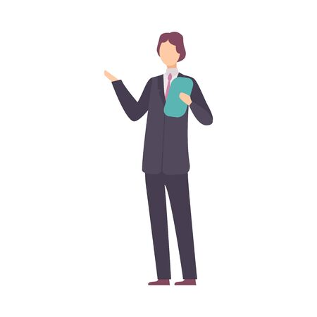 Young Lecturer Man Standing and Telling About Solar System Vector Illustration
