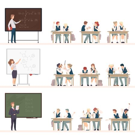 Naughty Pupils Sitting At School Desk Vector Illustration. Children Demonstrating Bad Behavior At Class Concept Illustration
