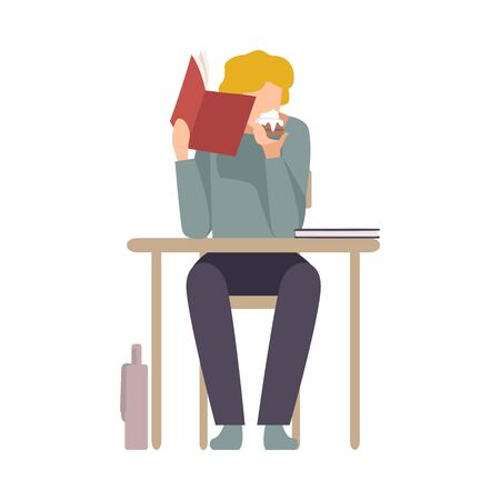 Naughty Boy Sitting At School Desk and Eating Cake Hiding Behind Copybook Vector Illustration