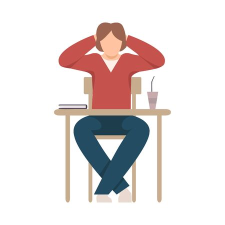 Naughty Boy Sitting At School Desk and Drinking Coffee During Lesson Vector Illustration
