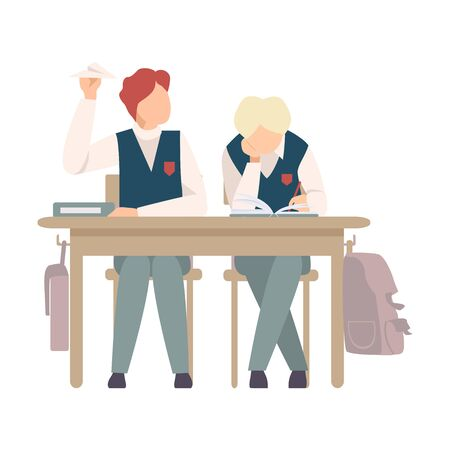 Naughty Boy Sitting At School Desk and Throwing Paper Plane Vector Illustration. Children Demonstrating Bad Behavior At Class Concept