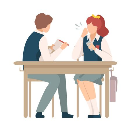 Naughty Boy Sitting At School Desk and Talking with His Neighbour Vector Illustration. Children Demonstrating Bad Behavior At Class Concept