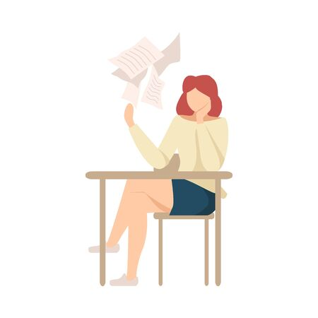 Lazy Girl Sitting At School Desk not Wanting to Write Essay Vector Illustration