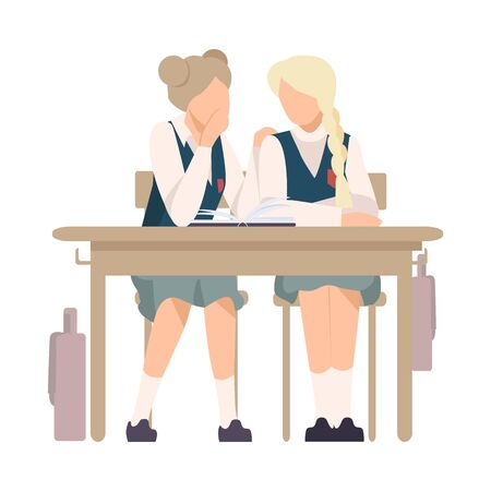 Two Girls Sitting At School Desk and Gossiping Vector Illustration. Children Demonstrating Bad Behavior At Class Concept