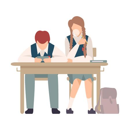 Pupils Sitting At School Desk and Chewing Gum During Lesson Vector Illustration. Children Not Listening to Their Teacher Concept