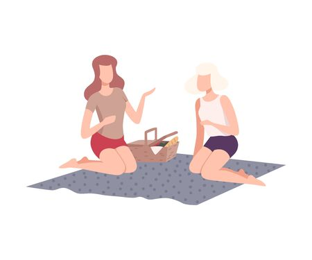 Two Girls Having Picnic in the Park, Friends Relaxing and Talking on Nature Flat Vector Illustration on White Background.