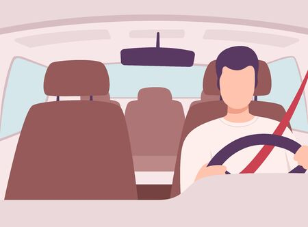 Man Driving a Car, Front View from the Inside, Male Driver Character Holding Hands on a Steering Wheel Vector Illustration in Flat Style. Stock Vector - 134840606