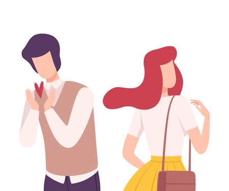 Young Man Rejecting Loving Woman, Male and Female Characters Experiencing Unrequited Feelings, One Sided or Rejected Love Flat Vector Illustration on White Background. Illustration