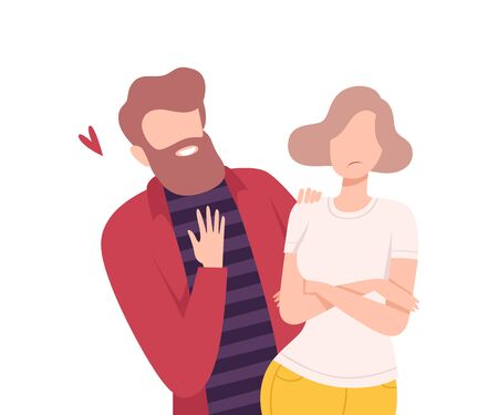 Annoying and Intrusive Admirer Trying to Present his Heart to Woman Refusing to Take It, Male and Female Characters Experiencing Unrequited Feelings, One Sided Love Flat Vector Illustration