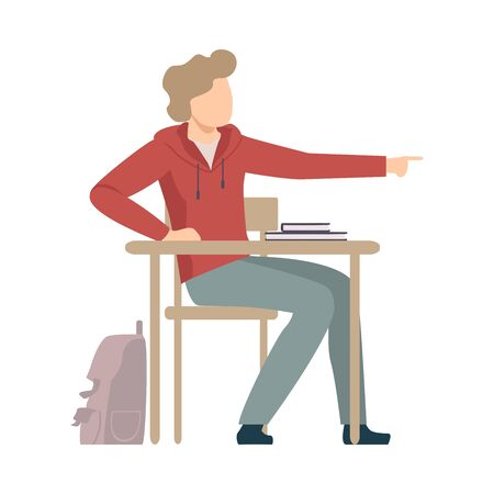 Naughty Boy Sitting At School Desk and Talking with His Neighbour Vector Illustration