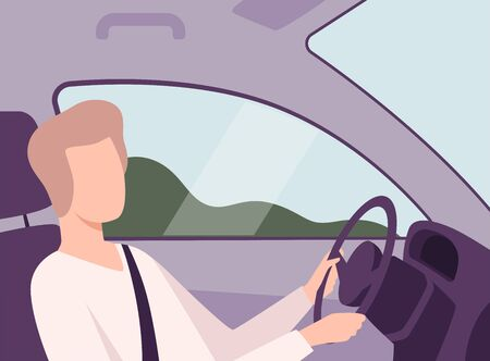 Man Driving a Car, Male Driver Character Holding Hands on a Steering Wheel, View from the Inside Vector Illustration in Flat Style. 일러스트