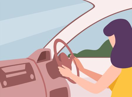 Brunette Woman Driving a Car, View from the Inside, Female Driver Character Holding Hands on a Steering Wheel Vector Illustration in Flat Style.