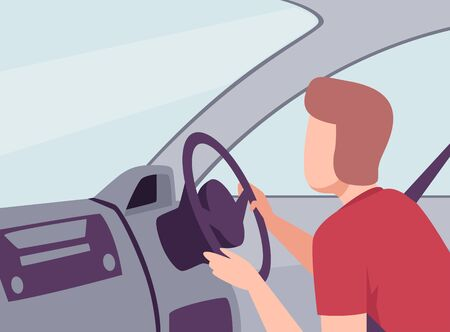 Man Driving a Car, View from the Inside, Male Driver Character Holding Hands on a Steering Wheel Vector Illustration in Flat Style. Illustration